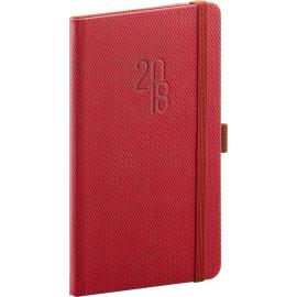 Pocket diary Diamante 2018, červený, 9 x 15,5 cm