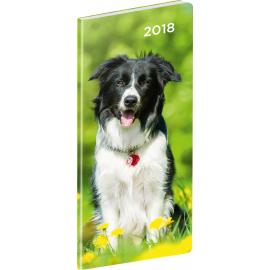 Kapesní diář Psi 2018, plánovací měsíční, 8 x 18 cm