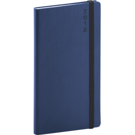 Kapesní diář Soft 2018, modročerný, 9 x 15,5 cm
