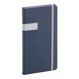 Kapesní diář Twill 2017, modrostříbrný, 9 x 15,5 cm