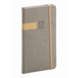 Kapesní diář Twill 2017, šedozlatý, 9 x 15,5 cm