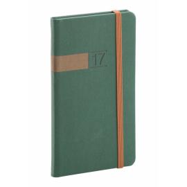 Kapesní diář Twill 2017, zelenobronzový, 9 x 15,5 cm