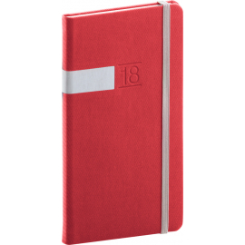 Kapesní diář Twill 2018, červenostříbrný, 9 x 15,5 cm