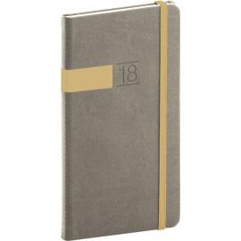 Pocket diary Twill 2018, šedozlatý, 9 x 15,5 cm
