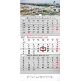 Nástěnný kalendář 3mesačný mesto šedý – so slovenskými menami SK 2017, 29,5 x 43 cm