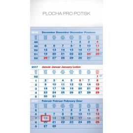 Nástěnný kalendář 3mesačný štandard modrý – so slovenskými menami SK 2017, 29,5 x 43 cm
