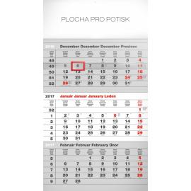 Nástěnný kalendář 3mesačný štandard šedý – so slovenskými menami SK 2017, 29,5 x 43 cm