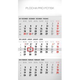 Nástěnný kalendář 3mesačný štandard šedý – so slovenskými menami SK 2018, 29,5 x 43 cm
