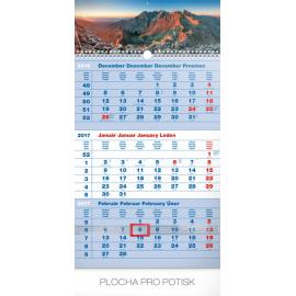 Nástěnný kalendář 3mesačný Tatry modrý – so slovenskými menami SK 2017, 29,5 x 43 cm