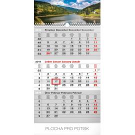 Nástěnný kalendář 3měsíční krajina šedý – s českými jmény 2017, 29,5 x 43 cm