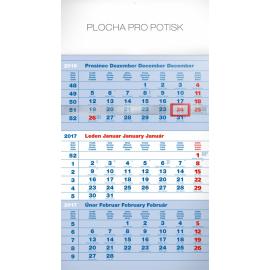 Nástěnný kalendář 3měsíční standard modrý – s českými jmény 2017, 29,5 x 43 cm