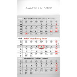 Nástěnný kalendář 3měsíční standard šedý – s českými jmény 2017, 29,5 x 43 cm