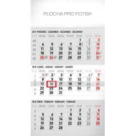 Wall calendar 3měsíční standard šedý – s českými jmény 2018, 29,5 x 43 cm