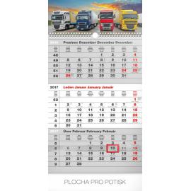Nástěnný kalendář 3měsíční truck šedý – s českými jmény 2017, 29,5 x 43 cm