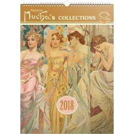 Nástěnný kalendář Alfons Mucha 2018, 33 x 46 cm