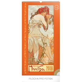 Nástěnný kalendář Alfons Mucha 2018, 33 x 64 cm