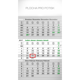 Nástěnný kalendář Eco šedý 3měsíční – s českými jmény 2017, 29,5 x 43 cm