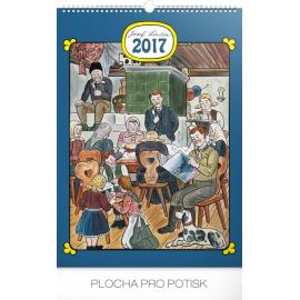 Nástěnný kalendář Josef Lada – Doma 2017, 33 x 46 cm