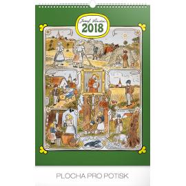 Nástěnný kalendář Josef Lada – Měsíce 2018, 33 x 46 cm