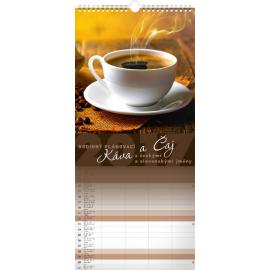 Nástěnný kalendář Káva a čaj 2017, 22 x 48 cm