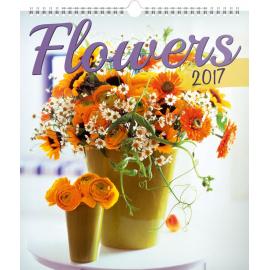 Nástěnný kalendář Květiny 2017, 30 x 34 cm
