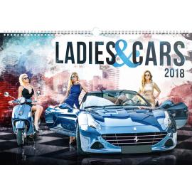 Nástěnný kalendář Ladies & Cars 2018, 48 x 33 cm