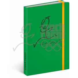 Notes Český olympijský tým, zelený, linkovaný, 13 x 21 cm
