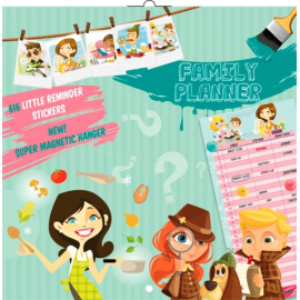 Family Planner Girls & Boys, grid calendar, 30 x 30 cm