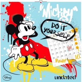 Grid calendar Mickey Mouse, DYI: Undated Colouring Calendar, 30 x 30 cm