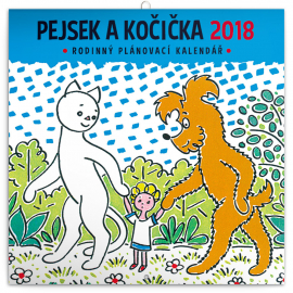 Family planner Pejsek a kočička 2018, 30 x 30 cm