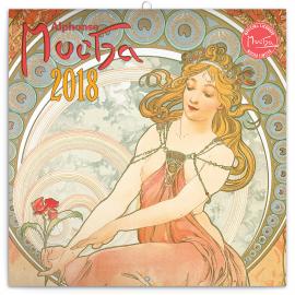 Poznámkový kalendář Alfons Mucha 2018, 30 x 30 cm