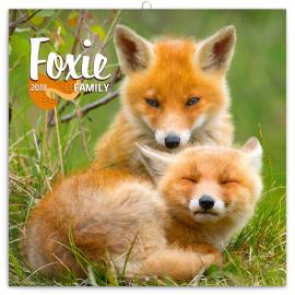 Grid calendar Foxie Family 2018, 30 x 30 cm