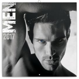 Poznámkový kalendář Muži 2017, 30 x 30 cm