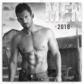 Poznámkový kalendář Muži 2018, 30 x 30 cm