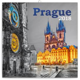 Grid calendar Praha černobílá 2018, 30 x 30 cm