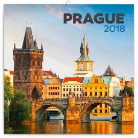 Poznámkový kalendář Praha letní 2018, 30 x 30 cm