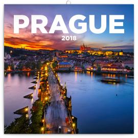 Poznámkový kalendář Praha nostalgická 2018, 30 x 30 cm