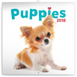 Grid calendar Puppies 2018, 30 x 30 cm