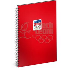 Spiral notebook Czech team, red, unlined, A5