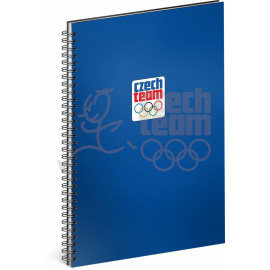 Spiral notebook Czech team, blue, unlined, A4
