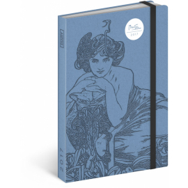Týdenní diář Alfons Mucha – Modrý 2017, 10,5 x 15,8 cm