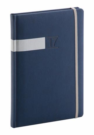 Týdenní diář Twill 2017, modrostříbrný, 15 x 21 cm, A5