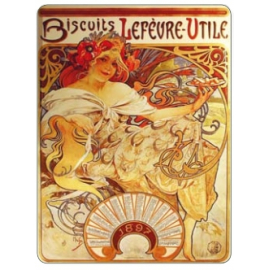 Metal sign Alfons Mucha – Biscuits, 30 x 40 cm