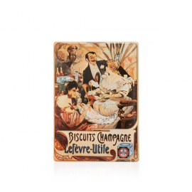 Cedule Alfons Mucha – Biscuits Champagne Lefevre, 15 x 21 cm