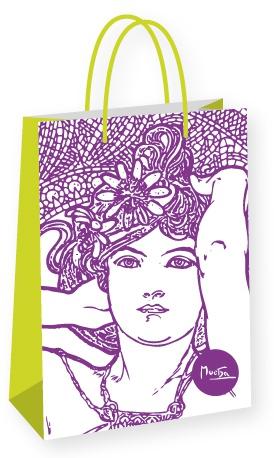 Dárková taška Alfons Mucha – Amethyst, Fresh Collection, velká