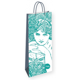 Bottle gift bag Alfons Mucha – Emerald, Fresh Collection
