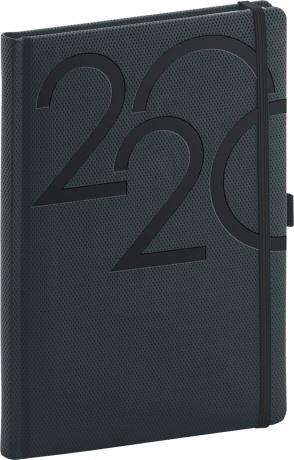 Denní diář Ajax 2020, antracitový, 15 × 21 cm