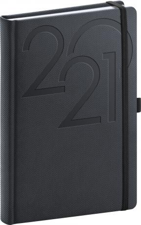 Denní diář Ajax 2021, antracitový, 15 × 21 cm