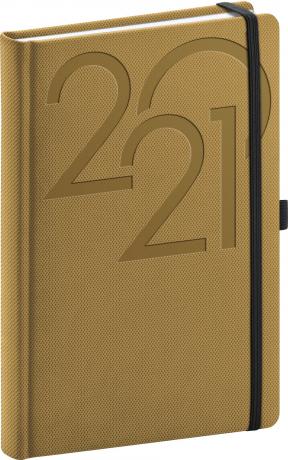 Denní diář Ajax 2021, zlatý, 15 × 21 cm