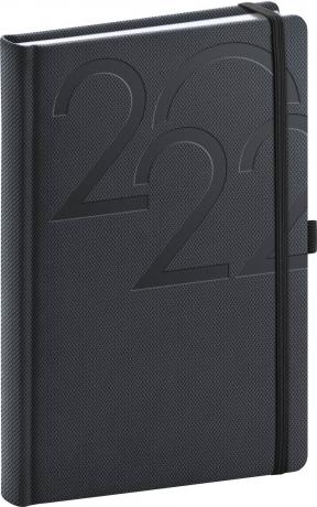 Denní diář Ajax 2022, antracitový, 15 × 21 cm